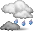 Voorspelling van het weerstation:  Mostly cloudy and cooler. Precipitation possible within 12 hours, possibly heavy at times. Windy.